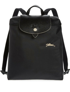 New Black Longchamp Le Pliage Club 1699 Nylon Backpack Embroidered Horse Bag