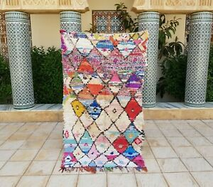 "Moroccan Vintage Boucherouite Rug 6'10x3'11"" HandMade Berber Carpet, Azilal rug"
