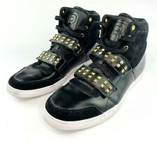 Reebok Men's Dibello Size 10.5 US Black Gold Studded Fashion Leather Sneakers