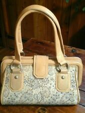 Braciano Medium Satchel Purse Tan Leather/Blue Paisley Fabric w/Seed Beading
