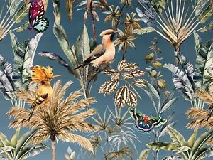 Hawaii Tropical Floral Birds Teal Soft Velvet  Curtain/Upholstery Fabric