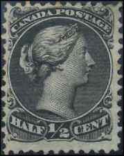 Canada #21 mint F NG 1868 Queen Victoria 1/2c black Large Queen CV$60.00