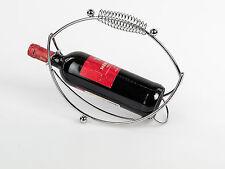 Moderno soporte botellas vino OLA DE METAL CROMADO PLATA altura 28cm
