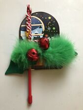 """New listing New """"Cosmic Pet"""" """"Holly Bow Wand� Feathers & Fabric Jingle Bells Cat Toy"""