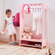 Childrens Pink Dress Up Wardrobe with Hooks Furniture New