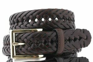 $128 Club Room Men's Brown Braided Leather Gold Buckle Dress Belt US Size 34