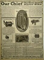 1917 Antique Chief Motor Bike Bicycle Art Sears Catalog Page Vintage Print Ad