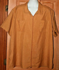 Vintage Haband Gold Polyester full Zip Camp Shirt 2 Pocket 3X 3XL Exc. Cond.
