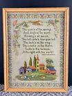 Vintage Handmade Embroidered Cross Stitch Framed Sampler Robert Browning Poem