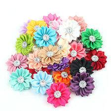 10pc Satin Ribbon Flower with Crystal Bead Appliques DIY Craft Trim Wedding Dec