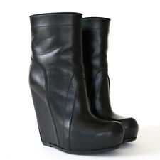 RICK OWENS $1595 high hidden wedge heel pull on black leather ankle boots 36 NEW