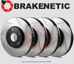 [FRONT + REAR] BRAKENETIC PREMIUM SLOTTED Brake Disc Rotors BPRS69020