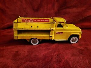 """Vtg BUDDY L Pressed Steel COCA-COLA Delivery Truck Yellow COKE Toy 15"""""""