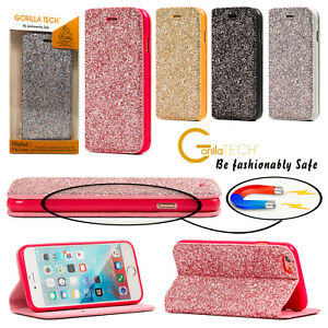 IPHONE Se Bling Purpurina Diamante Brillante Tipo Libro Funda Soporte Cartera