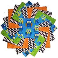 Hoot Owl Minky Minkee Softie Blue Green Benartex Fabric by the FAT 1//2 Yrd #5120