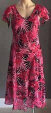 Retro Pink & Black Tropical Print Bias Cut Flutter Sleeve Dress Size 12/14