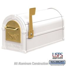 Salsbury Eagle Rural Mailbox - White - Gold Eagle-MAILBOX 4855E-WHG NEW