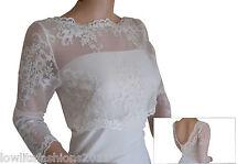 Ladies Ivory Wedding Lace  3/4 sleeve Bolero Jacket Sizes 8 to 18 Lowlitafashion