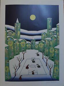 """Paolo Da Norcia serigrafia offset Inverno """"luna"""" 80x60 firmata numerata"""