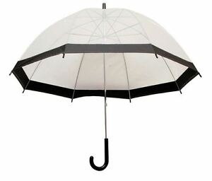 Clear See Through Transparent Dome Bubble Parasol Birdcage Umbrella ~ Black
