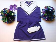 PURPLE CHEERLEADER COSTUME OUTFIT HALLOWEEN XL 12-14 DELUXE POM POMS BOW SOCKS