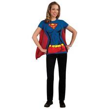 Supergirl T-shirt & Cape Women Adult Fancy Dress up Halloween Costume Kit XLarge
