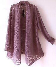 NEW~Taupe Beige Lace Duster Romantic Cardigan Blouse Boho Plus Top~18/20/1X
