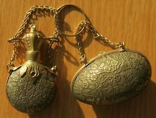 More details for antique chatelaine brass egg-shaped thimble holder case & matching scent bottle