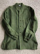 Ganesh Himal Mandarion Collar Wood Button Long Sleeve XL Mens Shirt Cotton