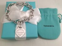 """Tiffany & Co Sterling Silver Return To T Heart Tag Link Bracelet 7"""". RRP $510"""