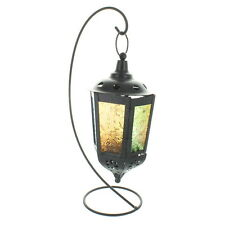 Black Hanging Lantern With Coloured Glass On Stand