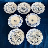 """Lovely 9 Piece Royal Albert Crown China Blue Willow 7 Saucers 5.25"""" & 2 Cups"""