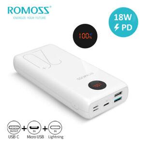 Romoss 20000mAh Powerbank 3A USB-C Schnelllade Tragbares Batterie Akku Ladegerät