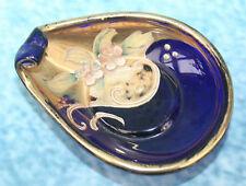 Moser Cobalt Blue Glass Pin Tray or Salt? Enamel & Gold Bohemia Bohemian Czech