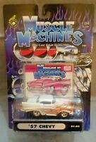 Muscle Machines 57 Chevy White with Flames 1:64 Diecast 1957 Car 01-82 Rare