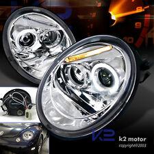 For 1998-2005 VW Volkswagen Beetle Halo Projector Headlights Pair Left+Right