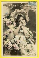 cpa BONNE FETE de 1907 Efant Chapeau Fleurs à Mlle FRUCHARD de CHEF BOUTONNE