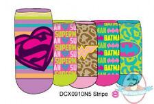 Dc Women's 5 Pair Pack Shorties Socks Dcx0910N5 Stripe Superman Batman