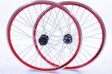 "PAIR WHEELS 26"" MTB WITH DISC BRAKE HUB,RED AIRLINE DOUBLE WALL RIMS MULTISPEED"