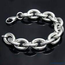 """Fashion Strong Silver 316L Stainless Steel Heavy Link Chain Men's Bracelet 9"""""""