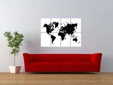 World Map Black Land White Seas Giant Wall Art Poster Print