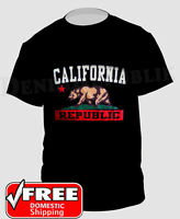 CALIFORNIA REPUBLIC State Bear Black T-Shirt Cali Life Graphic New Men's Tee