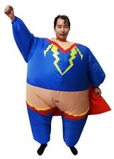 Inflatable Sumo Super Hero Costume Fat Superman Suit Fan Operated Party Dress Up