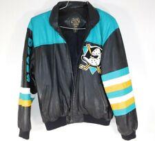 Vtg 1990's Mighty Ducks Hockey Team M Leather Varsity Jacket NHL Anaheim Retro