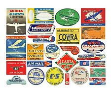 26 TRAVEL LUGGAGE STICKERS, 1 Sheet, Airplane Label REPRODUCTIONS, Airplane Art