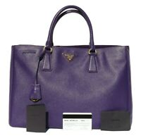 PRADA Viola Saffiano Lux BN1844 Purple Leather Gold HW Galleria Large Tote Bag
