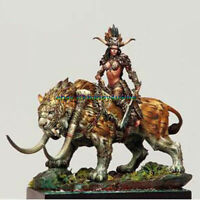 Unpainted 1/24 75mm Ancient Woman warrior with Animal Garage Kits Figure Model