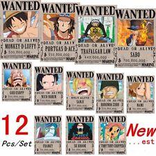 12 Pcs New ONE PIECE Straw Hat Pirates Set Luffy Ace Zoro Chopper Wanted Posters