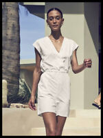Athleta NWT Women's Marlow Printed Romper Size Med Color Pearl White Python