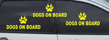 3 x FLUORESCENT DOGS ON BOARD DOG PAW STICKER DECALS          (s263)